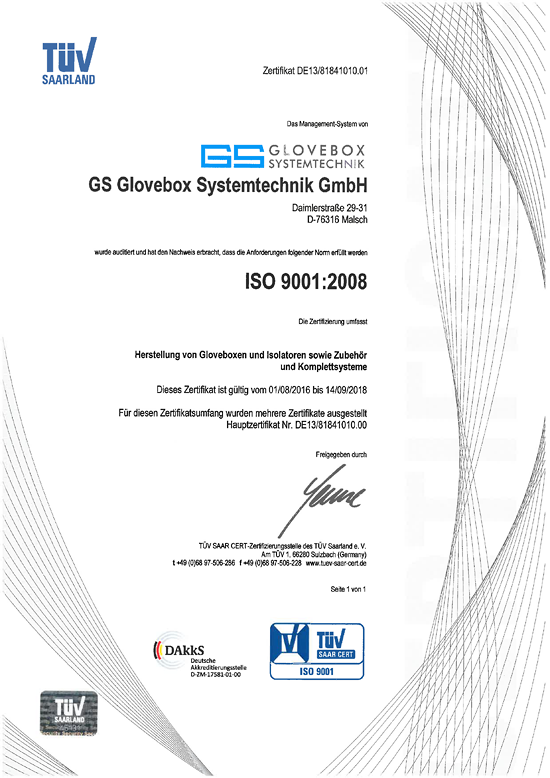 Quality management at GS GLOVEBOX Systemtechnik